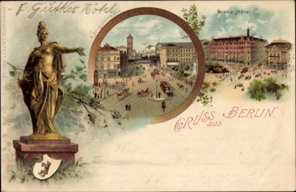 Litho Berlin Mitte, Königsstraße am Alexanderplatz, Rathaus, Grand Hotel, Berolina Denkmal