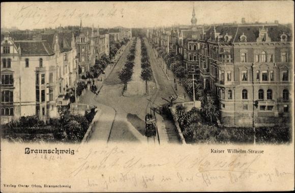 Ak Braunschweig in Niedersachsen, Kaiser Wilhelm Straße aus der Vogelschau, Wohnhäuser