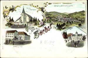 Litho Höchst Odenwald, Kirche mit Pfarrhaus, Gasthaus zur Post, Kloster