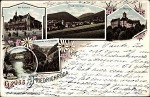 Litho Friedrichroda im Thüringer Wald, Kurhaus, Wartburg, Schloss Reinhardsbrunn