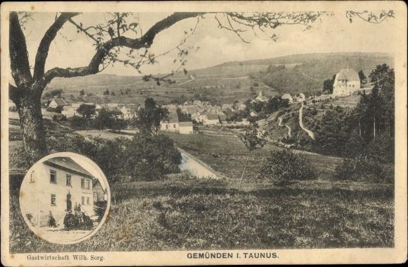 Ak Gemünden Weilrod im Hochtaunuskreis, Gastwirtschaft Wilh. Sorg, Panorama vom Ort