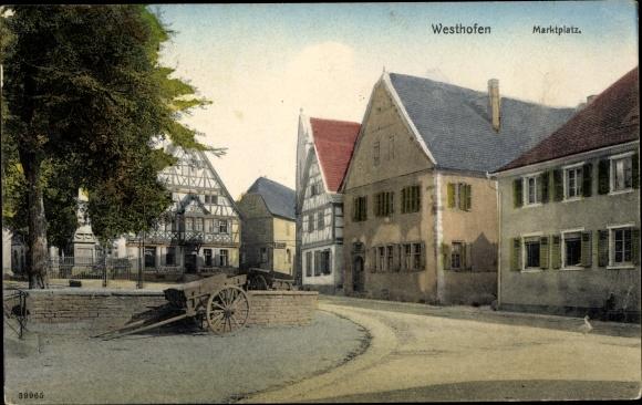 Ak Westhofen Rheinland Pfalz, Partie am Marktplatz, Restauration von A. Wechsler