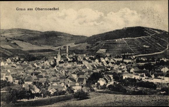 Ak Obermoschel in der Pfalz, Panoramaansicht von Ortschaft und Umgebung