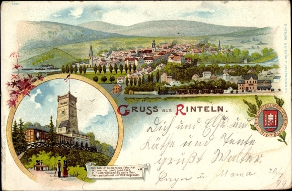 Wappen Litho Rinteln an der Weser Kreis Schaumburg, Klippenturm, Panoramablick auf die Stadt