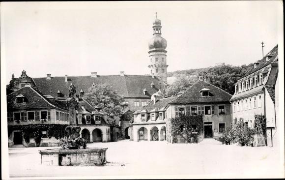 Foto Ak Weikersheim in Tauberfranken, Partie am Marktplatz