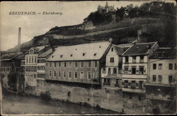 Ak Bad Kreuznach in Rheinland Pfalz, Blick auf die Ebernburg, Geschäfte, Schuhmacher J. Tesch