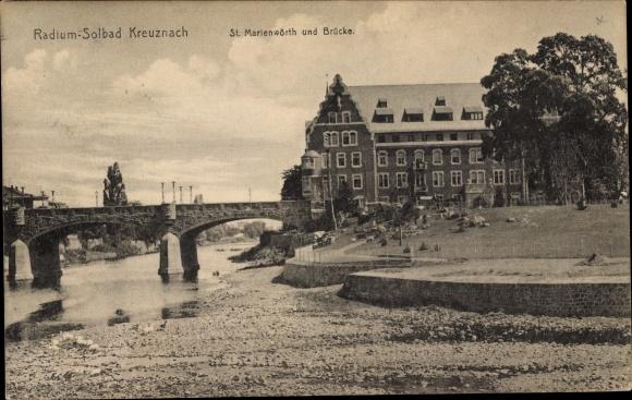 Ak Bad Kreuznach in Rheinland Pfalz, Blick auf das St. Marienwörth, Brücke