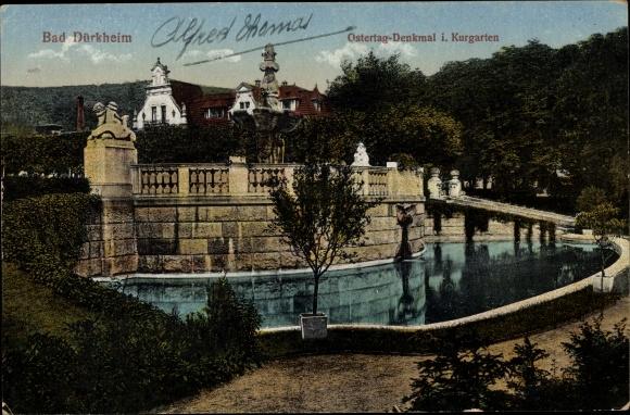 Ak Bad Dürkheim am Pfälzerwald, Blick auf das Ostertag Denkmal im Kurgarten