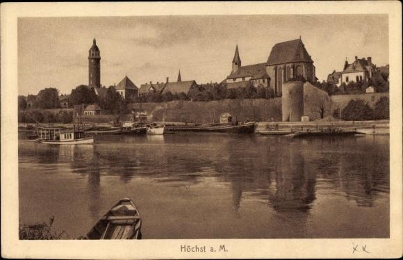 Ak Höchst am Main Frankfurt am Main Hessen, Stadtpanorama vom Fluss