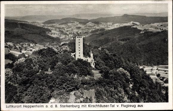 Ak Heppenheim an der Bergstraße Hessen, Blick auf die Starkenburg, Kirschhäuser Tal, Fliegeraufnahme