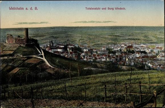 Ak Weinheim an der Bergstraße Baden, Stadtpanorama von oben, Burgruine