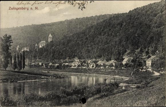 Ak Zwingenberg am Neckar Baden Württemberg, Stadtansichten, Flusspartie