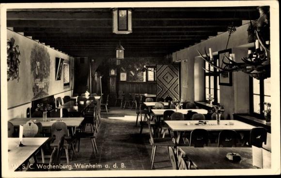 Ak Weinheim an der Bergstraße Baden, Innenansicht der Burgschänke der Wachenburg