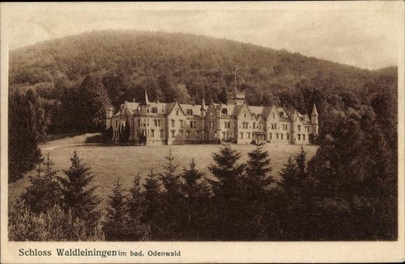 Ak Waldleiningen im Odenwald, Blick auf das Schloss, Wald