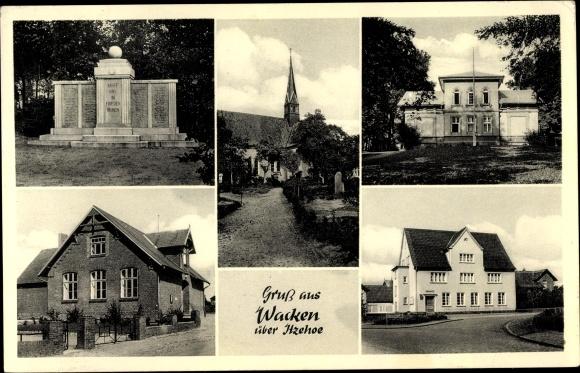 Ak Wacken in Schleswig Holstein, Stadtansichten, Denkmal, Kirche, Sparkasse