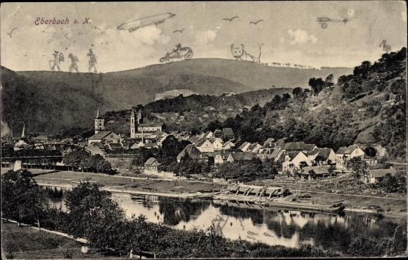 Ak Eberbach im Rhein Neckar Kreis, Stadtpanorama, Flusspartie