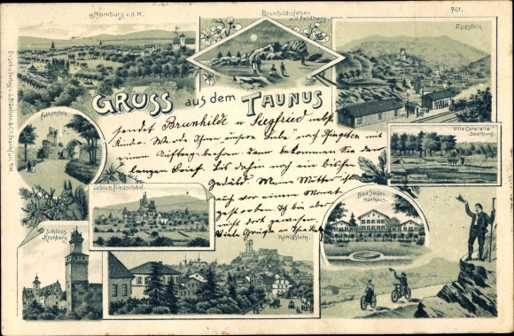 Litho Bad Soden am Taunus Hessen, Schloss Kronberg, Kurhaus, Villa Caracalla, Eppstein, Königstein