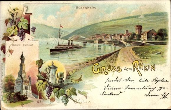 Litho Rüdesheim am Rhein Hessen, Niederwalddenkmal, Weintrauben, Flusspartie mit Blick auf den Ort
