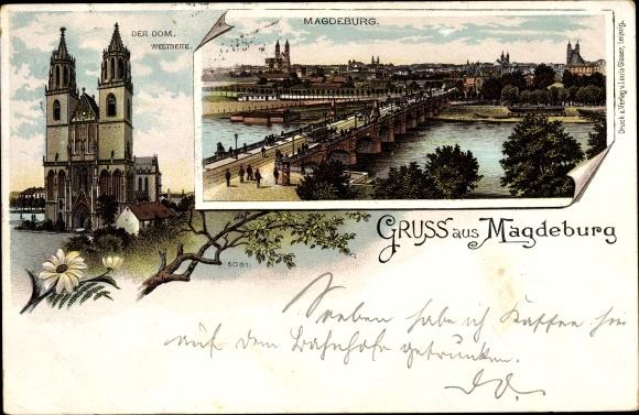 Litho Magdeburg in Sachsen Anhalt, Dom, Brücke, Panoramablick auf die Stadt