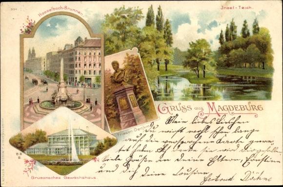Litho Magdeburg in Sachsen Anhalt, Hasselbach Brunnen, Friesen Denkmal, Gewächshaus, Insel Teich