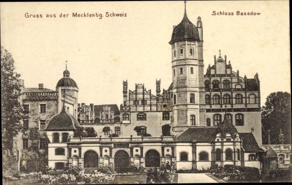 Ak Malchin in Mecklenburg Vorpommern, Schloss Basedow