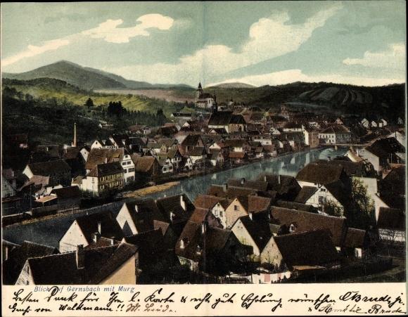 Klapp Litho Gernsbach im Murgtal Baden Württemberg, Panoramablick auf die Stadt