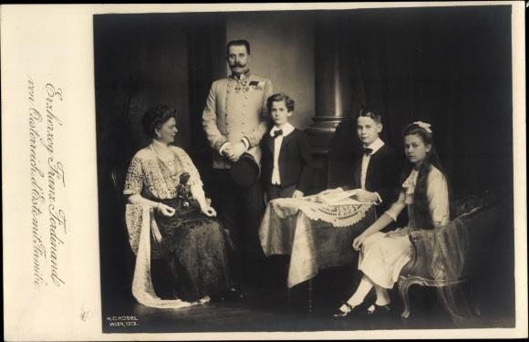 Ak Erzherzog Franz Ferdinand d'Este, Familienportrait