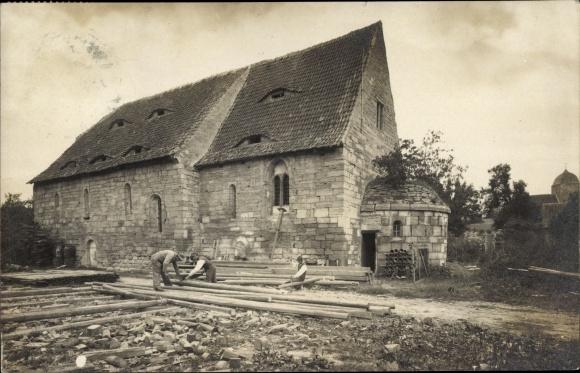 Foto Ak Weißensee Thüringen, Kirche, Bauarbeiten