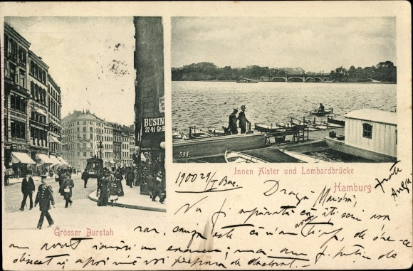 Ak Hamburg, Ansichten der Stadt, Alster, Lombardbrücke, Großer Burstah