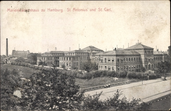 Ak Hamburg Nord Winterhude, Marienkrankenhaus St Antonius und St Carl, Totalansicht