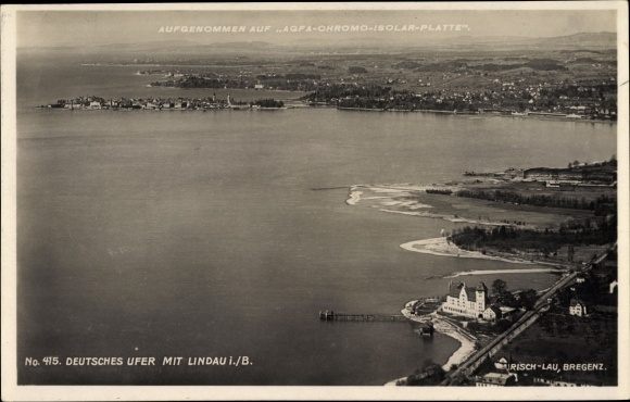 Ak Lindau am Bodensee, Luftaufnahme vom deutschen Ufer