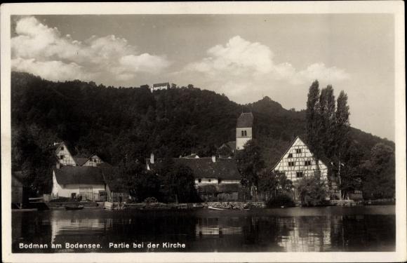 Ak Bodman Ludwigshafen in Baden Württemberg, Uferpartie am Bodensee, Kirche
