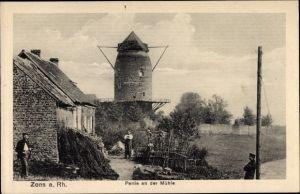 Ak Zons Dormagen am Niederrhein, Partie an der alten Mühle
