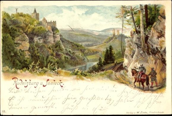 Litho Bad Kösen Naumburg an der Saale, Blick auf Rudelsburg und Saaleck