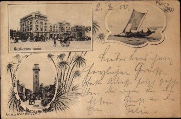 Ak Colombo Ceylon Sri Lanka, Galle Face Hotel, Lighthouse, Fishing Boat