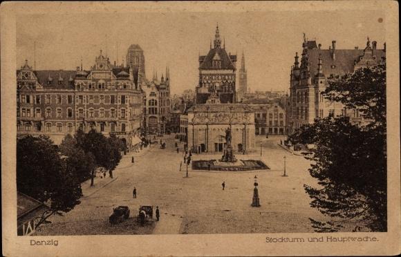 Ak Gdańsk Danzig, Stockturm und Hauptwache