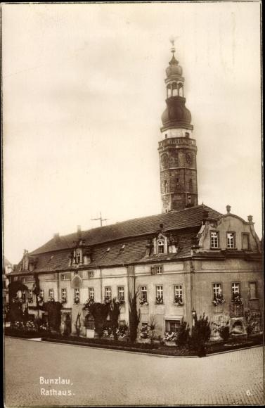 Ak Bolesławiec Bunzlau Schlesien, Rathaus, Ratusz