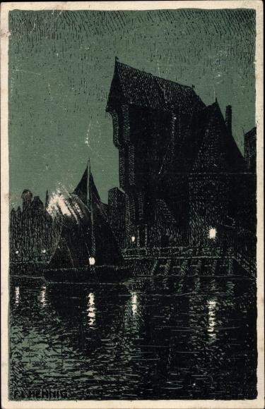 Künstler Ak Gdańsk Danzig, Nachtansicht vom Krantor