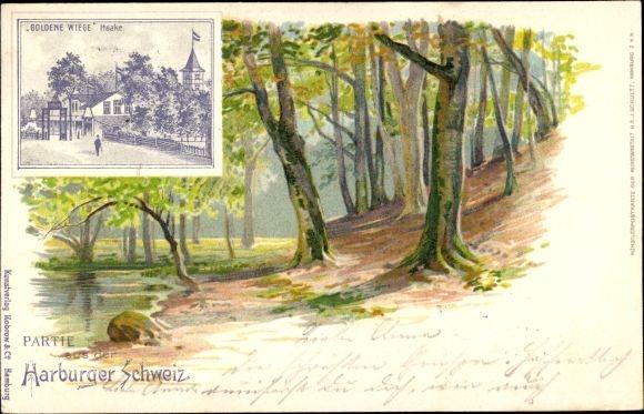 Künstler Litho Hamburg Harburg Haake, Etablissement Goldene Wiege, Bes. E. Staunau, Waldpartie
