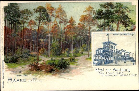 Künstler Litho Hamburg Harburg Haake, Hotel zur Wartburg, Bes. Louis Plath, Waldpartie