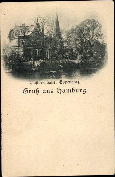 Ak Hamburg Nord Eppendorf, Das Pastorenhaus, Ansicht vom Wasser aus