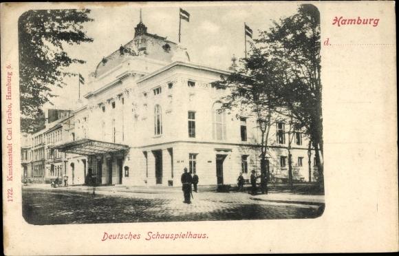 Ak Hamburg Mitte St. Georg, Deutsches Schauspielhaus, Passanten