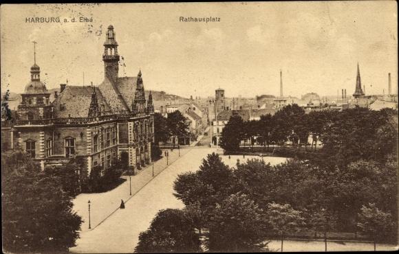 Ak Hamburg Harburg, Rathausplatz vor dem Rathaus, Straßenpartie
