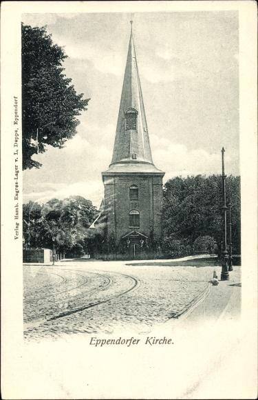 Ak Hamburg Nord Eppendorf, Straßenansicht der Kirche um 1899, Turm
