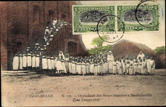 Ak Demokratische Republik Kongo Zaire, Orphellinat des Soeurs blanches a Bauduinville, Lac Tanganyka