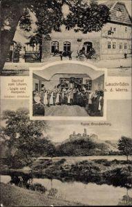 Ak Lauchröden Gerstungen in Thüringen, Ruine Brandenburg, Gasthof zum Löwen