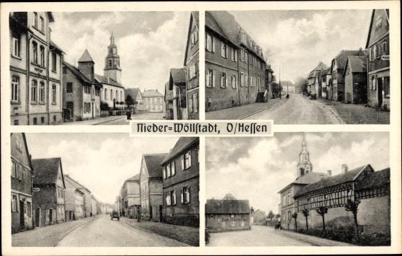 Ak Nieder Wöllstadt in Hessen, Straßenpartien, Geschäftshäuser, Kirche, Gasthaus Zum Gambrinus