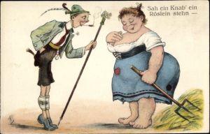 Künstler Ak Scheuermann, Willi, Sah ein Knab' ein Röslein stehn, Junger Wanderer, Bäuerin