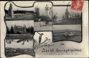 Ak Saint Genest Malifaux Loire, Skispringer, Place, Château