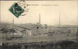 Ak Saint Chamond Loire, Vue générale des Aciéries